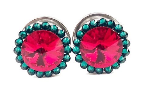 Red and Green Swarovski Crystal Plugs - Defiant Jewelry