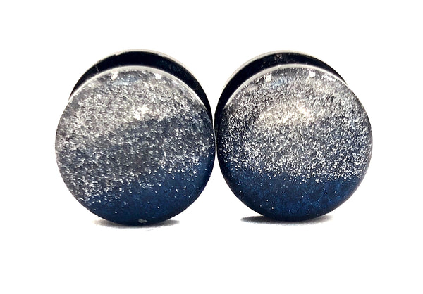 Silver, Dark Grey, and Royal Blue Color Block Shimmer Plugs