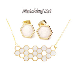 Frosted Pearl Hexagon Necklace and Earrings Set - Defiant Jewelry