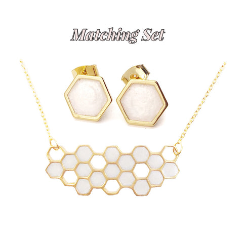 Frosted Pearl Hexagon Necklace and Earrings Set