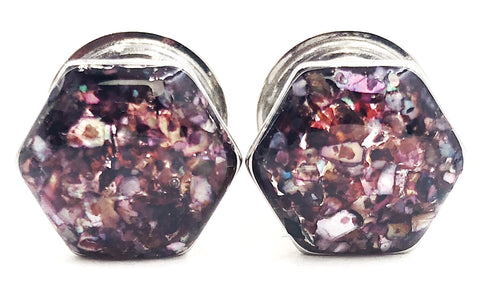 Burgundy Crushed Shell Hexagon Plugs - Defiant Jewelry