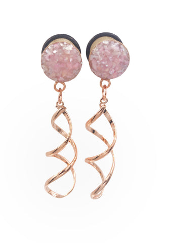 Champagne Rose Shell Infinity Twist Wood Dangle Plugs