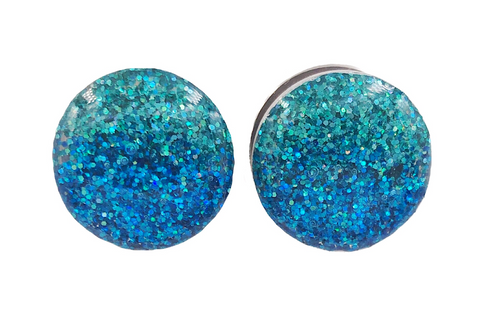 Mermaid Ombré Teal and Blue Sparkle Plugs - Defiant Jewelry