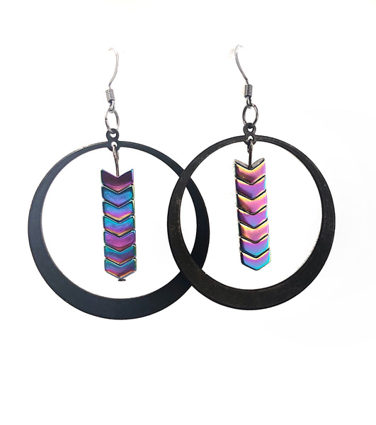 Rainbow Hematite Stone Arrow Hoop Dangle Earrings