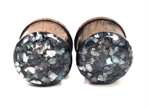Smokey Iridescent Crushed Shell Wood Plugs - Defiant Jewelry