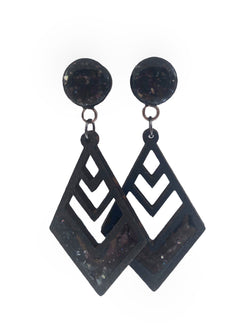 Black Iridescent Shell Diamond Wood Dangle Plugs - Defiant Jewelry