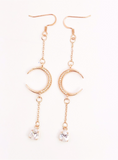 CZ Moon and Teardrop Chain Dangle Earrings - Defiant Jewelry