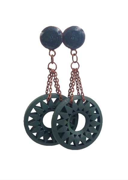 Crushed Emerald Sun Wood Dangle Plugs - Defiant Jewelry