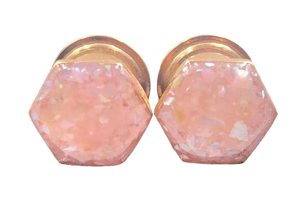 Hexagon Champagne Rose Crushed Shell Geometric Plugs - Defiant Jewelry