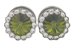 Olive Green Swarovski Crystal Plugs - Defiant Jewelry