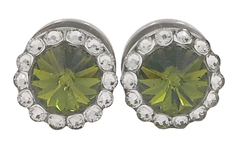 Olive Green Swarovski Crystal Plugs