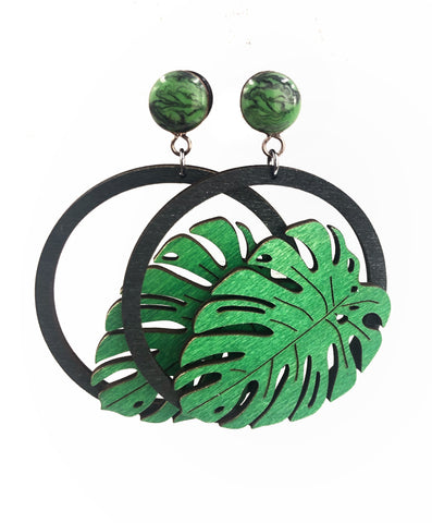 Marbled Green and Black Monstera Leaf Hoop Wood Dangle Plugs