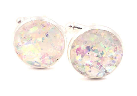 Frosted Holographic Cufflinks - Defiant Jewelry