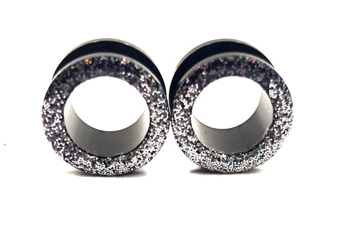 Iridescent Black and Silver Ombré Raw Sparkle Tunnel Plugs