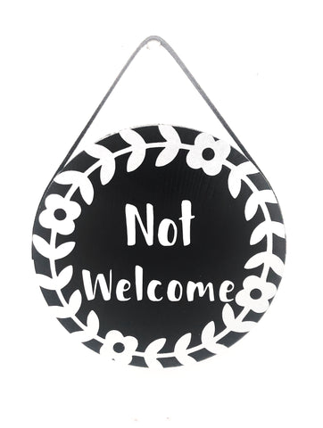 Not Welcome Metallic Wood Plank Sign - Defiant Jewelry
