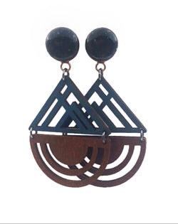 Aqua Wood Geometric Wood Dangle Plugs - Defiant Jewelry
