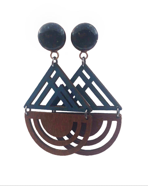 Aqua Wood Geometric Wood Dangle Plugs