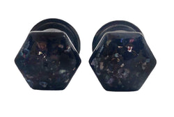 Hexagon Black Crushed Shell Geometric Plugs - Defiant Jewelry