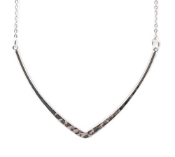 Silver Hammered V Necklace - Defiant Jewelry