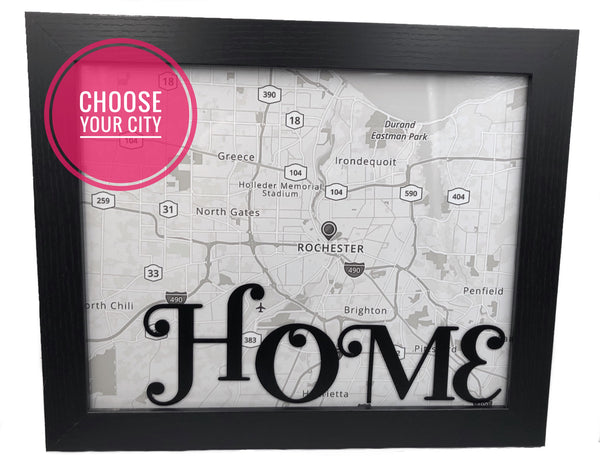 Customized Framed Home City Map Decor