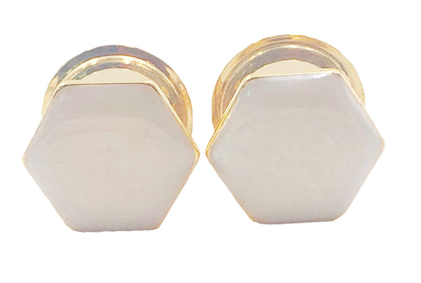 Hexagon Frosted White Geometric Plugs - Defiant Jewelry