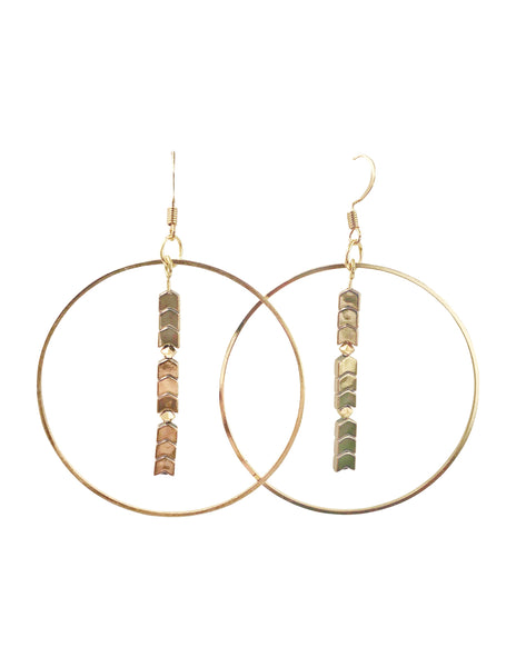 Gold Arrow Hoop Dangle Earrings