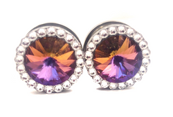 Volcano Red Purple Swarovski Crystal Plugs