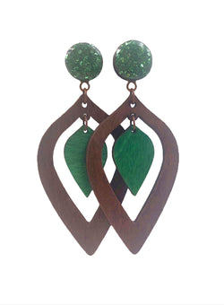 Green Crushed Glass Double Teardrop Wood Dangle Plugs