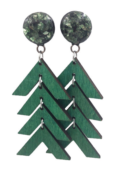 Forest Green and Black Glass Arrow Wood Dangle Plugs