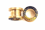 Black and Gold Ombré Raw Sparkle Tunnel Plugs - Defiant Jewelry