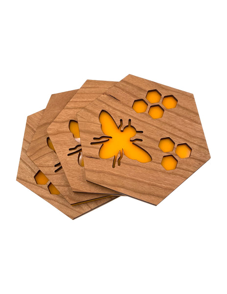 Hexagon Bee Cherry Wood Coasters