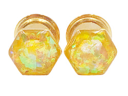 Hexagon Yellow Holographic Plugs - Defiant Jewelry