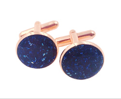 Sapphire Crushed Glass Cufflinks - Defiant Jewelry