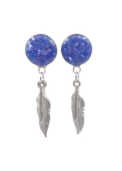 Indigo Crushed Shell Feather Dangle Plugs