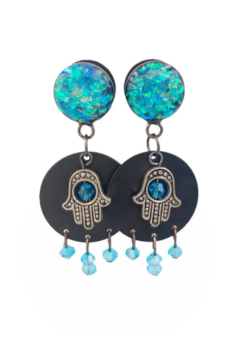 Blue Holographic Hamsa Dangle Plugs - Defiant Jewelry