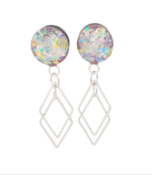 Frosted Holographic Diamond Wood Dangle Plugs