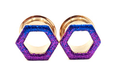 Sapphire and Purple Ombré Raw Sparkle Tunnel Hexagon Plugs