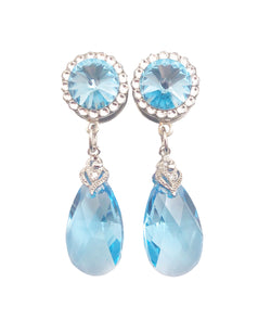 Swarovski Aquamarine Crystal Teardrop Dangle Plugs