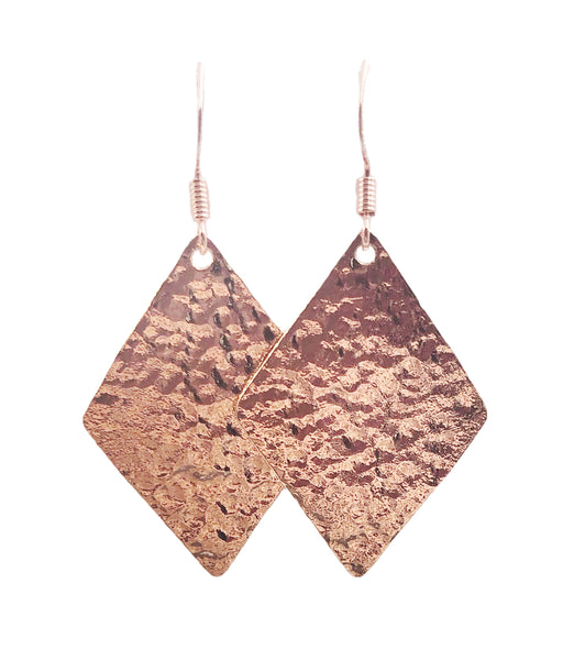 Hammered Diamond Dangle Earrings