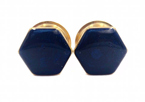 Royal Blue Shimmer Hexagon Plugs - Defiant Jewelry