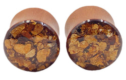 Bronze Flake Wood Plugs - Defiant Jewelry