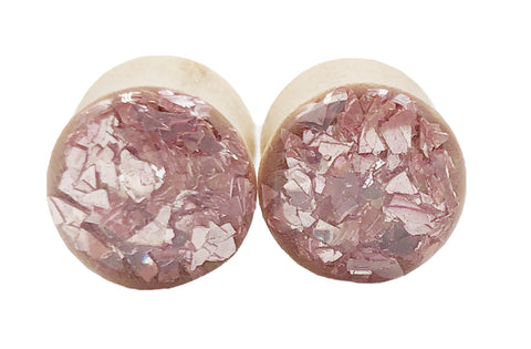 Soft Pink Glass Wood Plugs - Defiant Jewelry