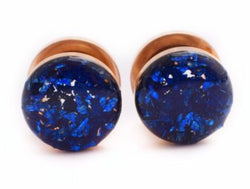 Sapphire Blue Crushed Glass Plugs - Defiant Jewelry