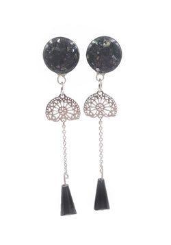 Black Iridescent Crushed Shell Intricate Chain Drop Dangle Plugs