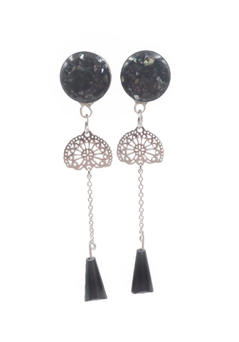 Black Iridescent Crushed Shell Intricate Chain Drop Dangle Plugs - Defiant Jewelry