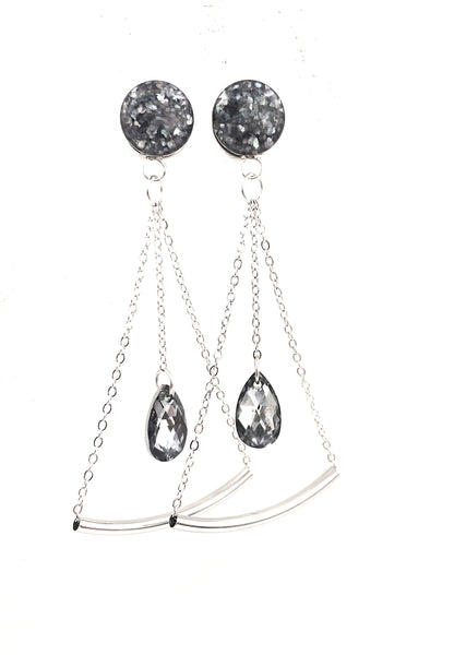 Smokey Shell Crystal Teardrop Pendulum Dangle Plugs - Defiant Jewelry