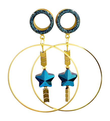 Blue Sparkle Tunnel Star and Arrow Hoop Dangle Plugs