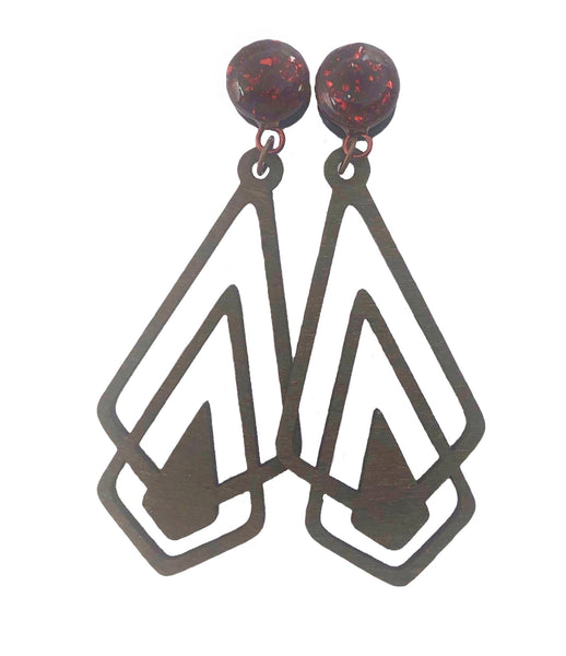 Crushed Mahogany Glass & Wood Geometric Drop Dangle Plugs
