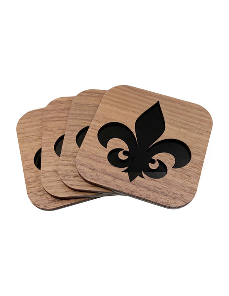 Black Fleur De Lis Walnut Wood Coasters