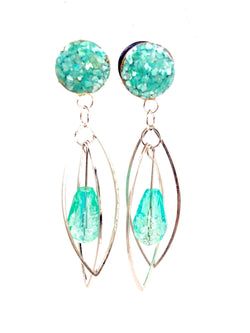 Island Blue Green Shell Marquis Teardrop Wood Dangle Plugs - Defiant Jewelry